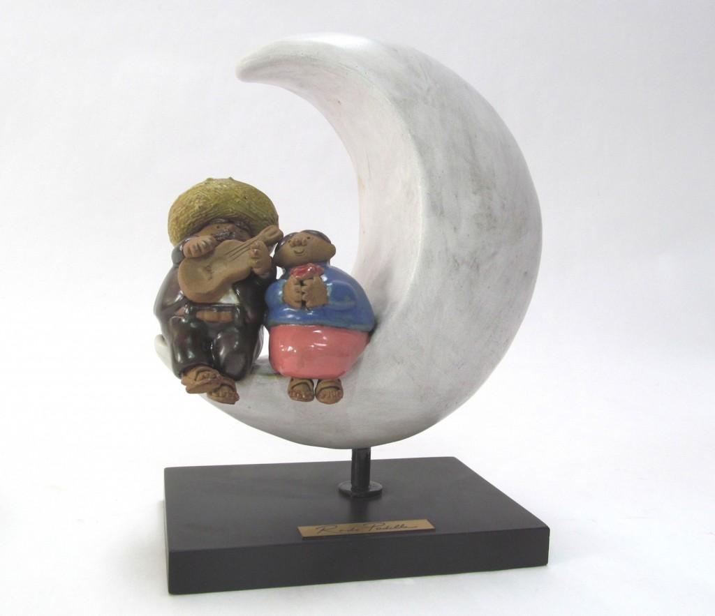 Luna Pareja con Base de Madera